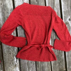 Anthro knitted sweater with belted tie